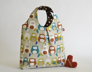 Handtasche, Tasche, Baumwolltasche, Motiv Eule, beige - Handarbeit kaufen