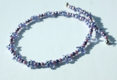 Kinder Halskette BLÜTENSTERNCHEN flieder-violett lila Sterne Blüten romantisch glitzern Geschenk  - Handarbeit kaufen