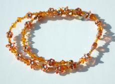 Kinder Halskette BLÜTEN und STERNE orange