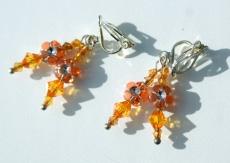 Ohrclips für Mädchen mit Blüten gelb orange - Handarbeit kaufen