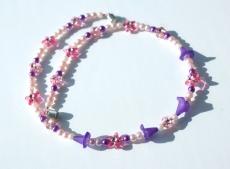 Kinder Halskette mit BLÜTENKELCHEN rosa lila romantisch leicht Set