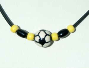 Halskette für Fußball-Fans schwarz-gelb - Handarbeit kaufen