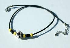Halskette für Fußball-Fans schwarz-gelb