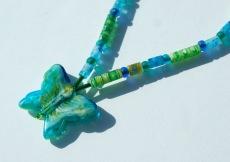 SCHMETTERLING  romantische Kinderkette blau grün Millefiori Magnetverschluss