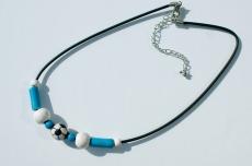 Halskette für Fußball-Fans blau--weiß