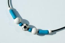 Halskette für Fußball-Fans Kind Junge Verein blau--weiß Keramik