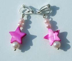 Ohrclips STERNE pink Perlmutt Glaswachsperlen versilbert Ohrhänger romantisch verspielt