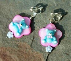 Clips blaue BÄRCHEN pink Blume Perlmutt Glas Mädchen Kind Ohrclips versilbert verspielt