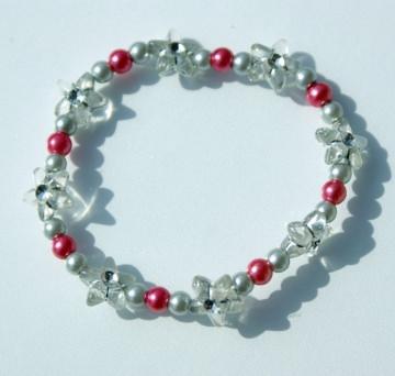 Kinder-Armband Silbersternchen grau rosa elastisch zart romantisch - Handarbeit kaufen