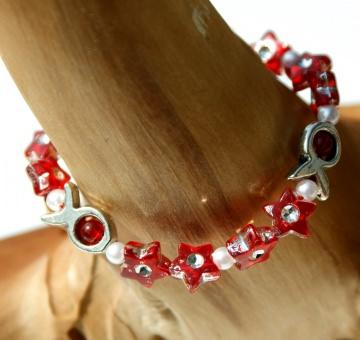 Kinder-Armband Sternchen  und Fische rot silber Mädchen elastisch zart romantisch