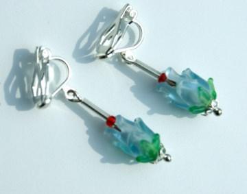 Ohrclips BLÜTENKELCH hellblau hellgrün Glas versilbert zart zierlich romantisch Clips Ohrhänger - Handarbeit kaufen