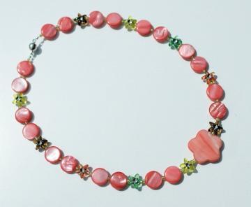 Kinderkette LACHSROT Perlmutt Sternchen bunt  Blume  Unikat glänzend leicht romantisch   Geschenk  - Handarbeit kaufen