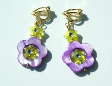 Mädchen Ohrclips BLUMEN Ohrhänger Sternchen Perlmutt  lila gelb romantisch verspielt