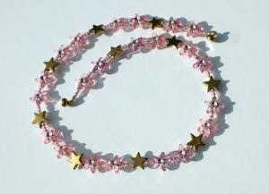 Kinder Halskette STERNE rosa gold  romantisch Prinzessin