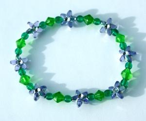 Kinder-Armband BLÜTEN-STERNE flieder grün elastisch zart romantisch