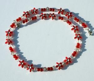 Kinder-Kette BLÜTENSTERNCHEN rot leicht Magnetverschluss romantisch Mädchen Blüten Sterne  - Handarbeit kaufen