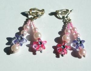 Kinder Ohrclips BLÜTENSTERNCHEN rosa pink lila romantisch - Handarbeit kaufen