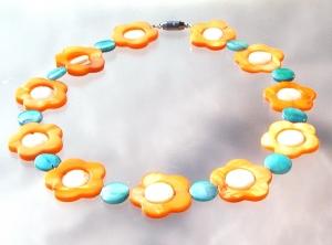 Kinderkette PERLMUTT BLUMEN orange türkis glänzend leicht romantisch