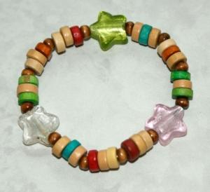Kinder-Armband BUNT mit STERNEN Mädchen fröhlich verspielt - Handarbeit kaufen