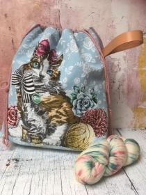 Projektbeutel Stricktasche Katze - groß - Handarbeit kaufen