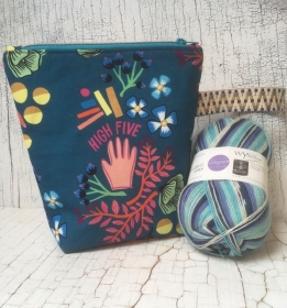 Projekttasche Handarbeitstasche High Five-blau + WYS Sockenwolle