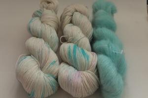 Handgefärbte Wolle Merino-Seide-Ramie und Mohair-Seide Set 20/19 von Farbenspielerei