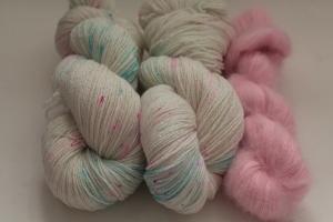 Handgefärbte Wolle Merino-Lurex und Mohair-Seide Set 20/28 von Farbenspielerei