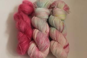 Handgefärbte Wolle Merino-Seide-Ramie und Mohair-Seide Set 20/33 von Farbenspielerei