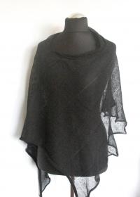 Leinen Poncho Cape Kleidung schwarz Streifen Striped  - Handarbeit kaufen