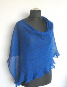 Leinen Poncho Cape Kleidung blau Streifen Striped   - Handarbeit kaufen