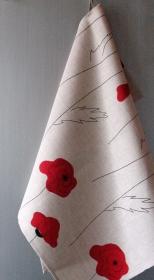 Küchentuch Leinen 2 Stück Blumen rote Mohnblumen  - Handarbeit kaufen