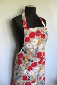 Leinen Schürze Küchenwäsche Schürze Gardening natürlichen grauen Blumen rote Mohnblumen Kornblume das Gänseblümchen Wiese