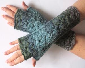 Handstulpen Handschuhe Grün Blau Grau