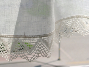 Kurzgardinen Weiß Leinen Gardinen spitze Cafe   - Handarbeit kaufen