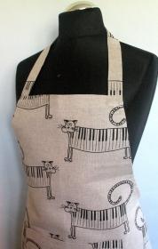 Leinen Schürze Küchenwäsche Schürze Gardening natürlichen grauen Schwarz Katze  - Handarbeit kaufen