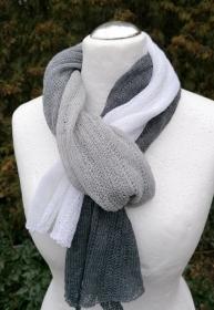 Wollschal weiß schwarz - Handarbeit kaufen