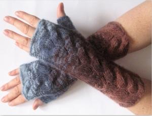Handstulpen Handschuhe Braun Blau - Handarbeit kaufen