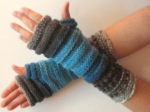 Handstulpen Handschuhe Grau Blau - Handarbeit kaufen