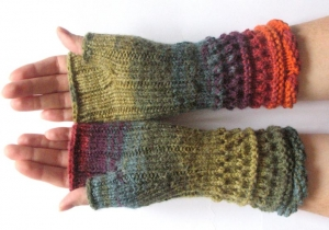 Handstulpen Handschuhe Grun Orange Rot Blau Lila - Handarbeit kaufen