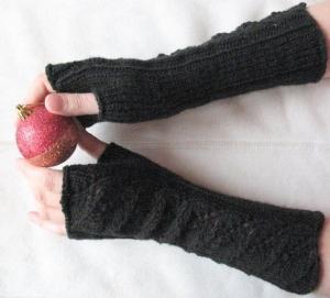 Handstulpen Handschuhe Schwarz - Handarbeit kaufen