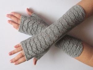 Handstulpen Handschuhe Grau  - Handarbeit kaufen
