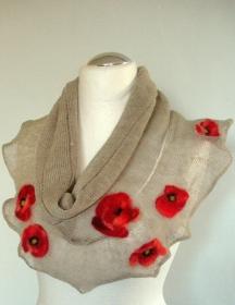 Leinen Rundschal natural grau Infinity Schal mit roten Mohn gefilzte Wolle   - Handarbeit kaufen