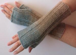 Handstulpen Handschuhe Braun Blau Beige Grau - Handarbeit kaufen