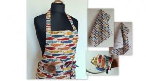 Leinen Küchenschürze Damen Schürzen für Frauen Schürze, Handtücher, Fisch