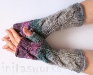 Handstulpen Handschuhe Violett Grau Burgund  - Handarbeit kaufen