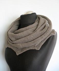 Leinenschal Grau Loop Schal Cowl Wrap  - Handarbeit kaufen