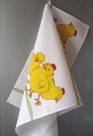 Küchentuch Leinen Ostern Eier Hühnchen - 2 Stück   - Handarbeit kaufen