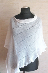 Leinen Poncho Cape Kleidung Weiß Streifen Striped   - Handarbeit kaufen