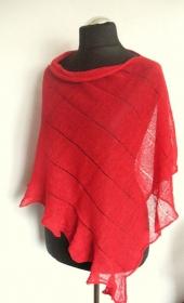 Leinen Poncho Cape Kleidung Rot Streifen Striped    - Handarbeit kaufen