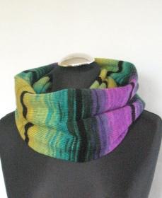 Lila Loop Schal Infinity Strick Schal Gelb Grün Violett - Handarbeit kaufen